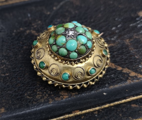 Antique turquoise and diamond locket brooch, Victorian 15ct gold target brooch