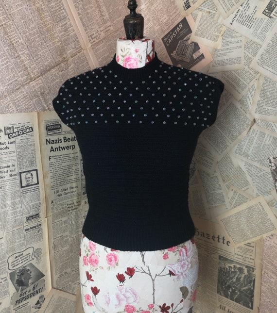 Vintage 1950's Black sweater vest, glass beads, wool tank
