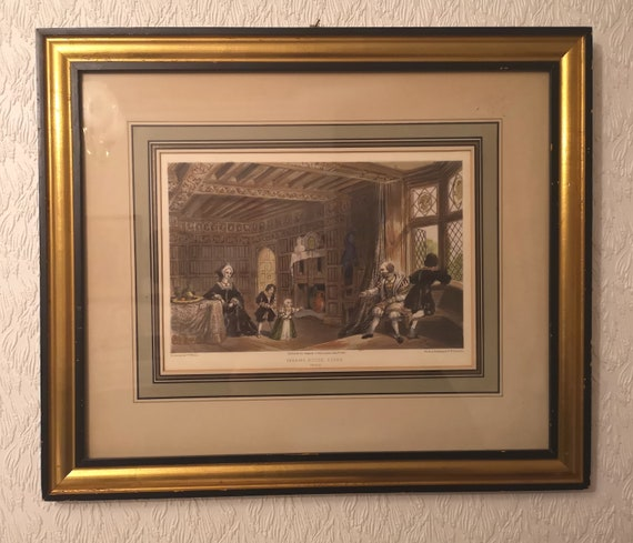 Antique English print, hand coloured family scene, Victorian art