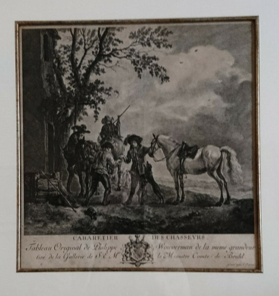 18th century engraving, Cabaretier Des Chasseurs, CF Boece after Wouwerman, c1785, antique fine art