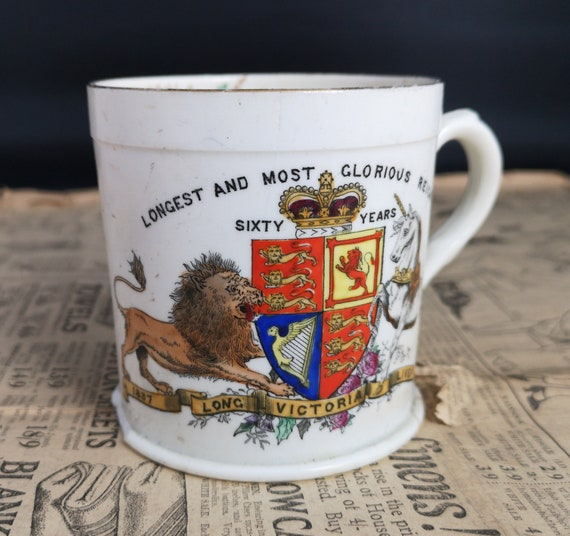 Antique Victorian mug, Queen Victoria, diamond jubilee, Royal memorabilia
