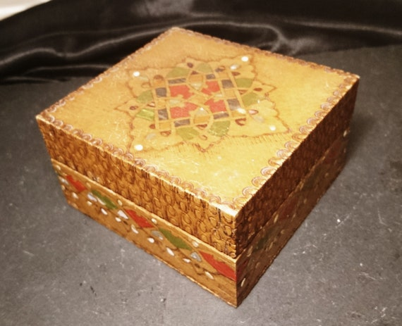Antique folk art box, primitive dovetail joins, Polish, hand painted, rustic wooden box