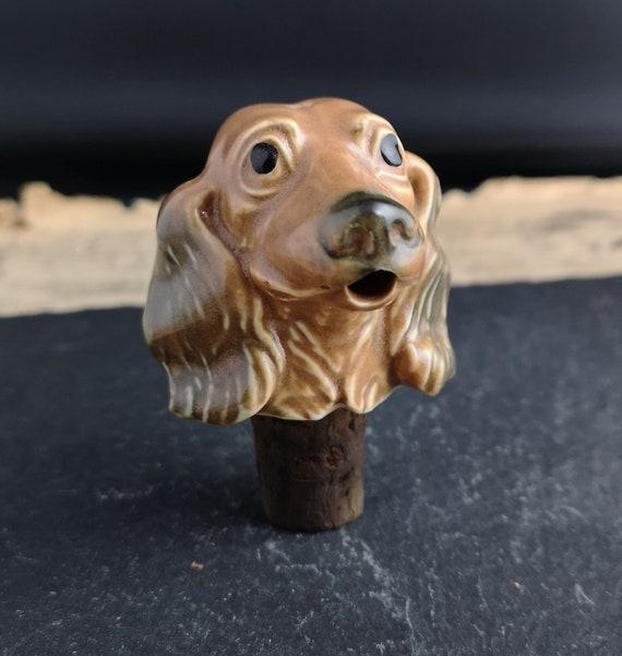 Vintage ceramic figural bottle pourer, dog, Spaniel, bottle stopper