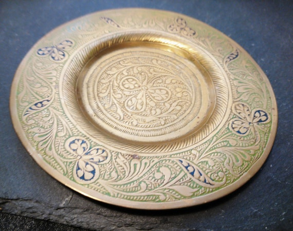 Vintage Indian brass plate, hand engraved, 1920's, Boho decor