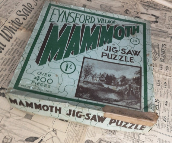 Vintage 30's jigsaw puzzle, Mammoth jig-saw, Eynsford Village