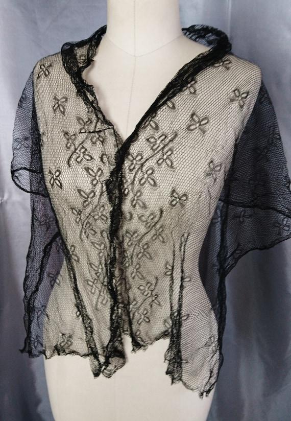 Victorian black lace shawl, shamrock design, hand tatted