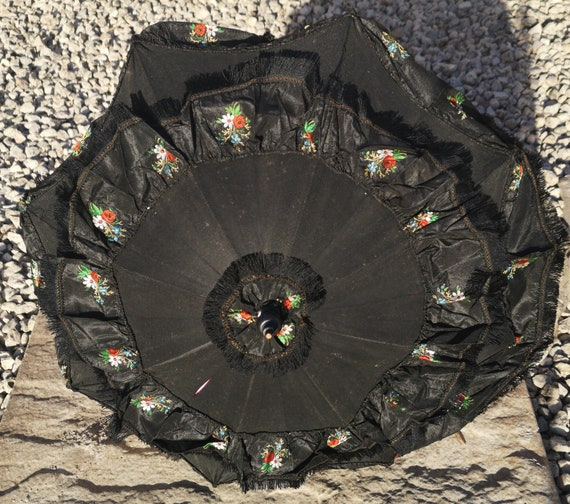Antique mourning parasol, Victorian black embroidered silk and lace parasol