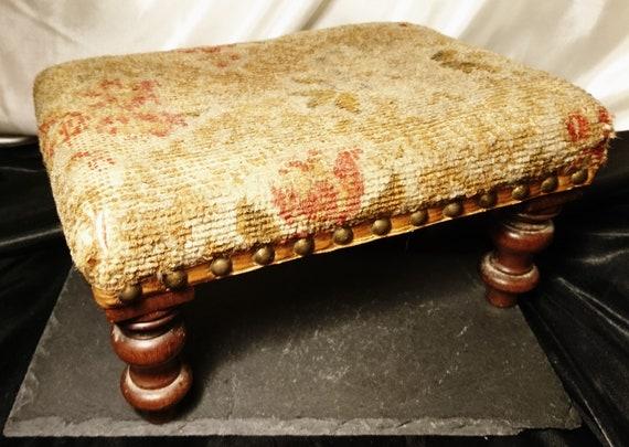 Antique footstool, Victorian woolwork top, rectangular