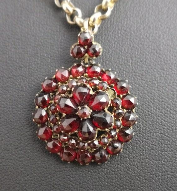 Antique bohemian garnet flower pendant, Victorian forget me not