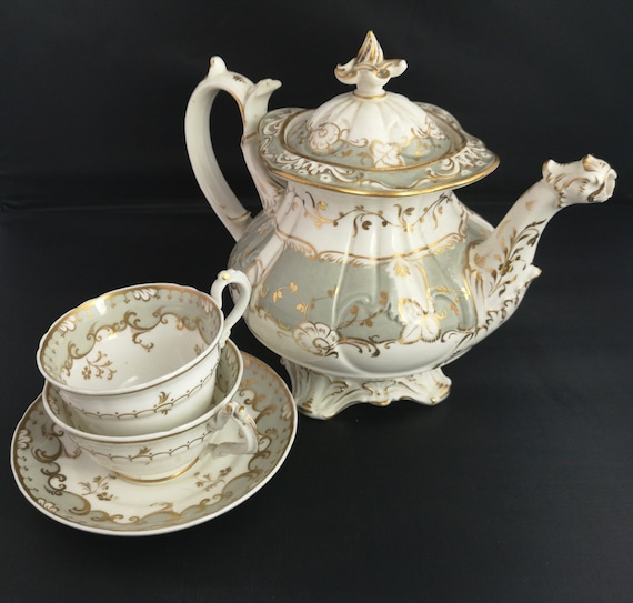 Antique French tea set, teapot, tea cup, Rococo