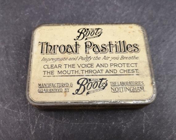 Vintage Boots throat pastilles tin, chemist advertising