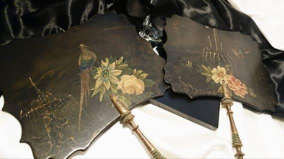 Antique hand fans, Victorian papier mache face screens