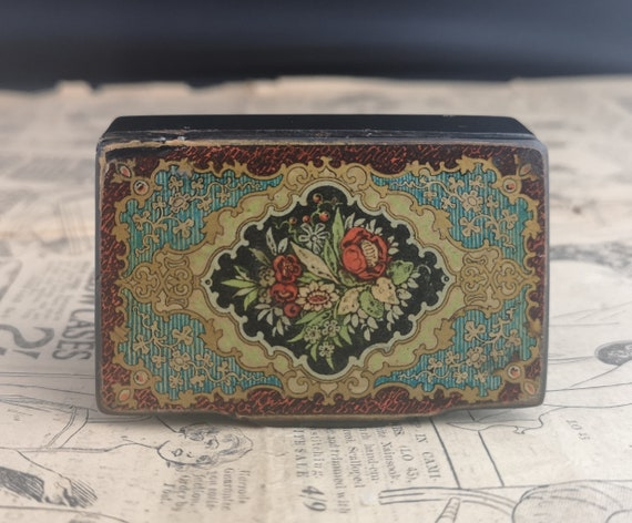 Victorian snuff box, antique papier mache, gilt and mother of pearl
