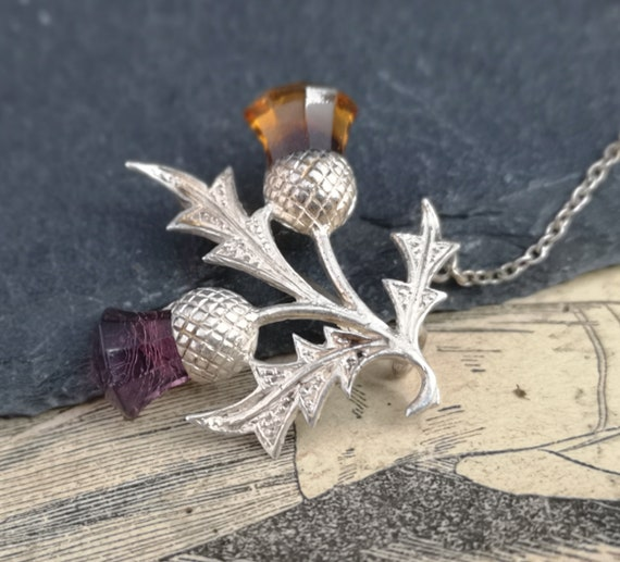 Antique silver thistle brooch, Edwardian