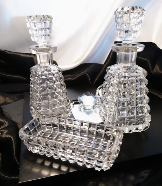 Victorian condiments set, antique hob nail cut glass, oil, vinegar and salt trough