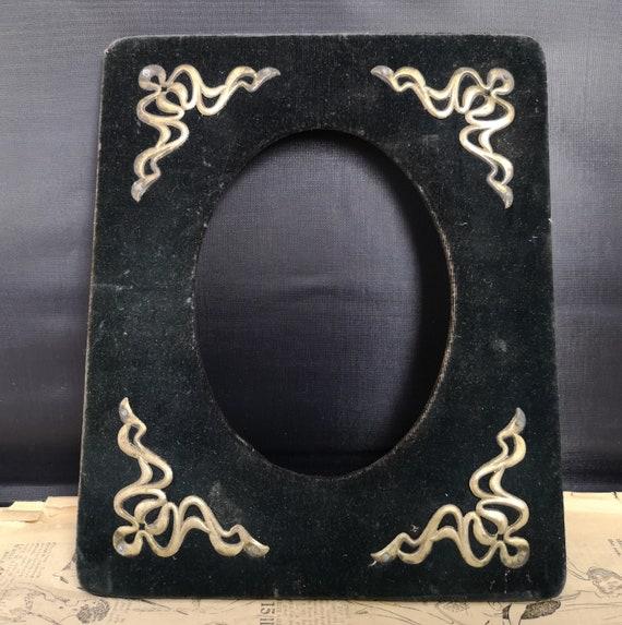 Antique velvet photo frame, Art Nouveau picture frame, shabby chic decor, silver plate