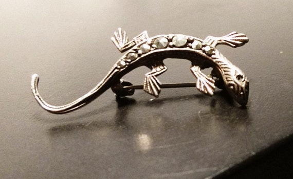 Vintage silver lizard brooch, 1920's fine silver and marcasite lizard pin