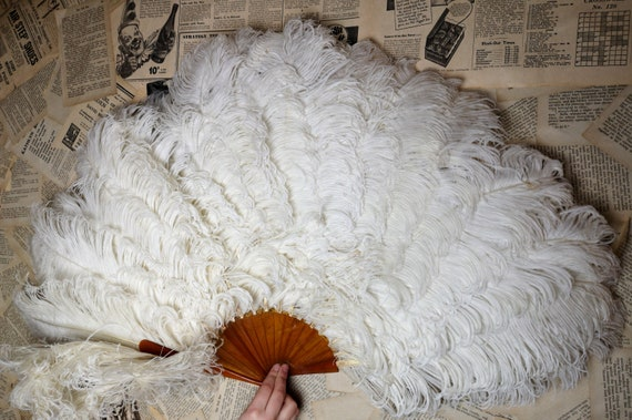 Antique Victorian ostrich feather fan, huge, faux tortoiseshell