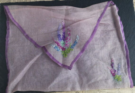 Vintage French organza handkerchief case, embroidered