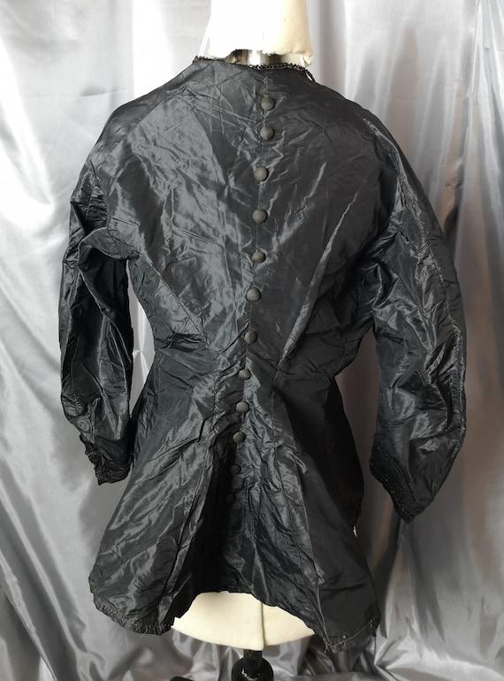 Victorian mourning blouse, black taffeta, Button back, antique bustle blouse