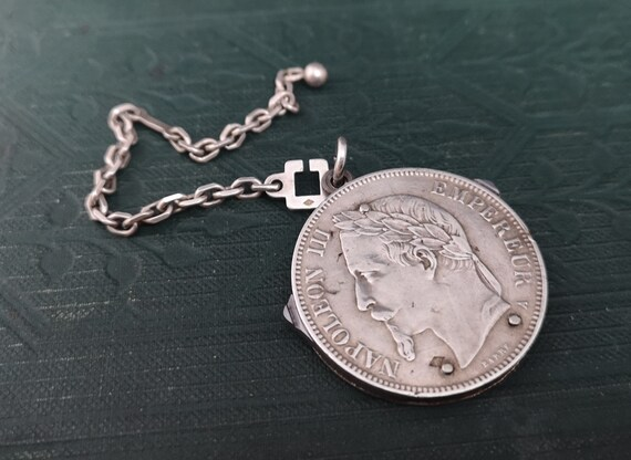 Antique French silver coin charm fob, fruit knife, scissors and file, 1870 5 Francs, Napoleon III