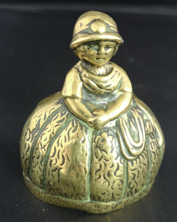 Antique brass table bell, lady, novelty brass bell