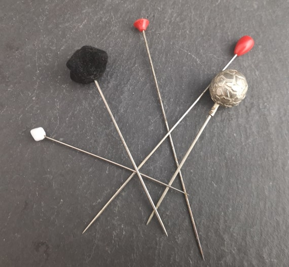 Vintage hat pins, collection, set of 5