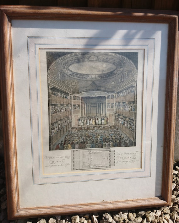 Antique copperplate Engraving, hand coloured, New Theatre, Royal Haymarket, 1823, Georgian era artwork, framed and glazed