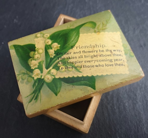 Antique Victorian friendship box, box wood, trinket box