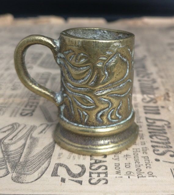 Miniature antique brass tankard, novelty match holder