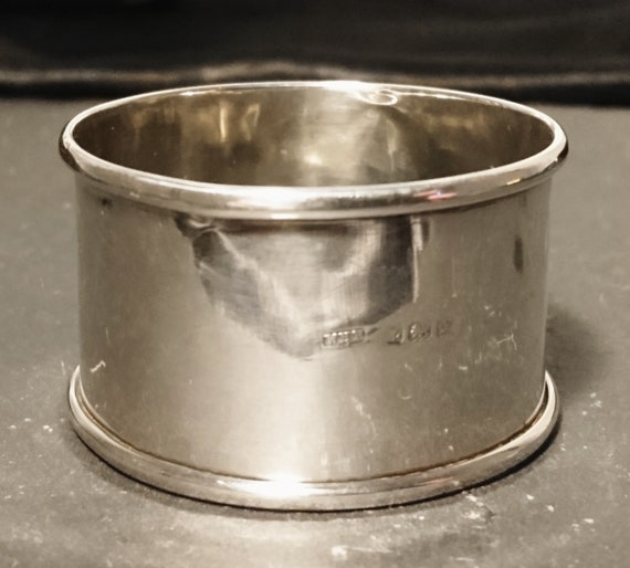 Vintage sterling silver napkin ring, Art Deco era, large napkin ring, napkin holder, 1920's