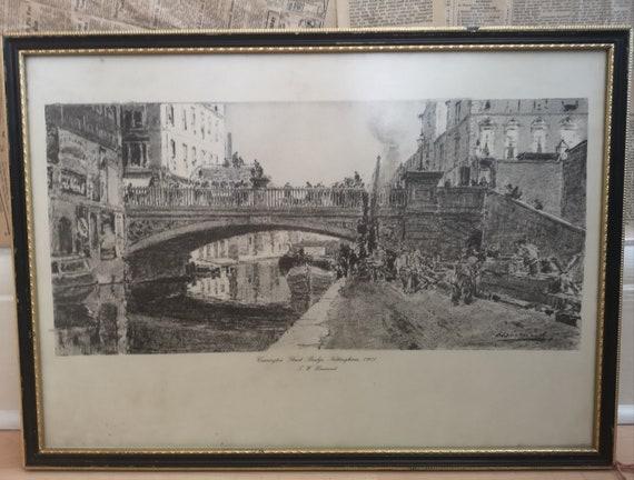 Antique landscape sketch, drawing, architecture, Carrington Street Nottingham