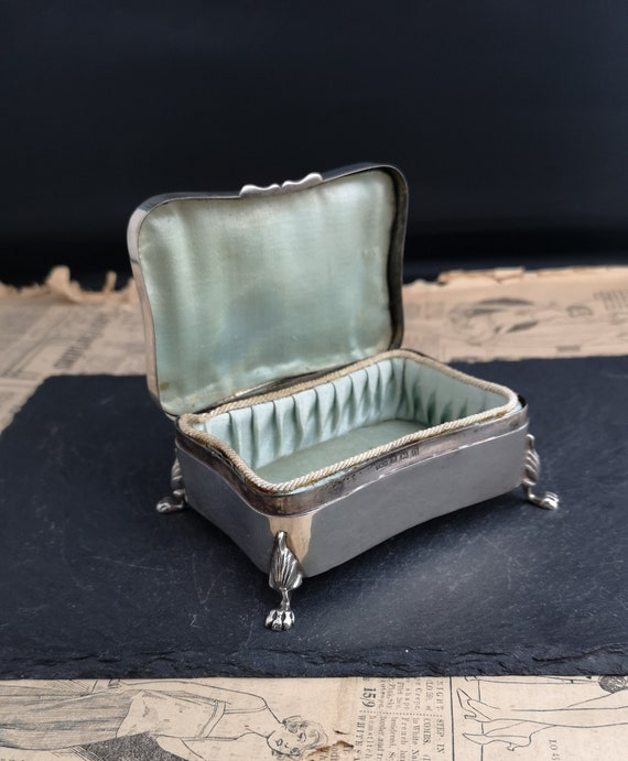 Antique sterling silver jewelry casket, jewellery box, lion paw feet