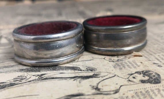Antique silver plated napkin rings, Edwardian era, pair napkin holders, distressed, worn, shabby chic