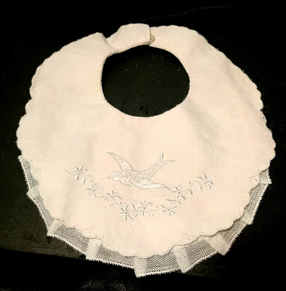 French antique baby bib, unused, swallow and flowers, pink bib, lace edging