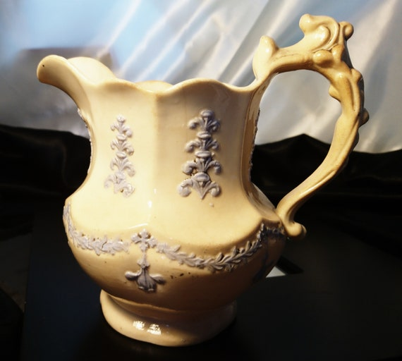 French antique jug, relief moulded porcelain jug, butter yellow and lavender