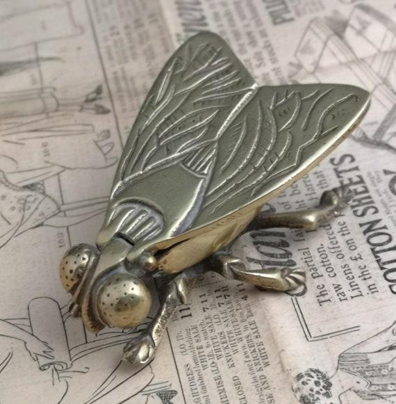 Unusual Antique table vesta, Victorian solid brass fly, novelty vesta, housefly