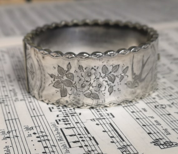 Antique silver bangle, Victorian aesthetic