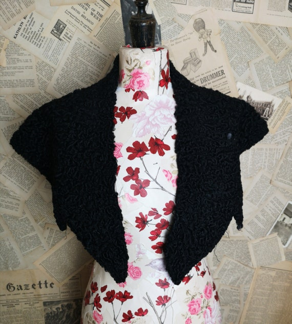 Vintage 1920's astraka shrug, black shawl