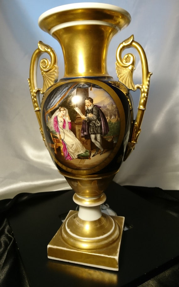 French antique vase, Urn design, Old Paris with a 16th century courtship scene and ground gilt