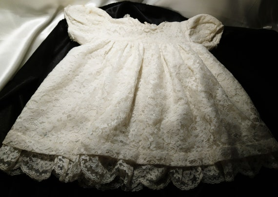 Vintage lace baby dress, 1930's embroidered, English lace baby girl dress