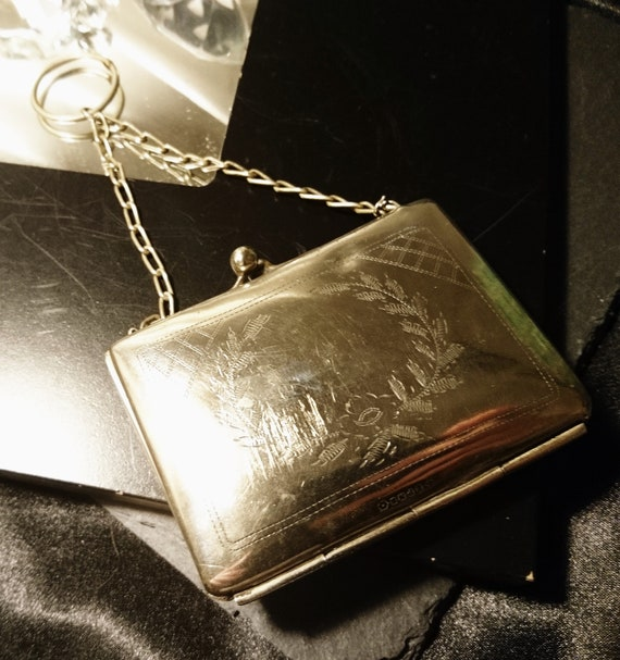 Antique silver plated finger purse, engraved, Art Nouveau purse