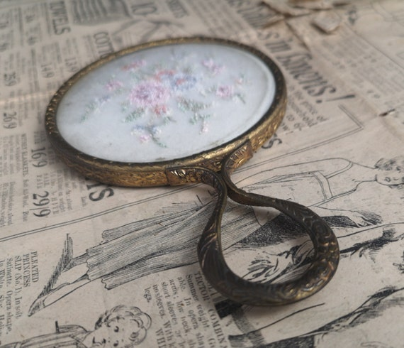 Vintage French hand mirror, petit point and gilt, Art Deco
