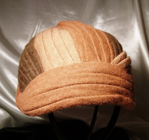 An early Mitzi Lorenz design, late 1940's weave turban style hat, wool and rabbit hair, earthy tones, vintage ladies hat