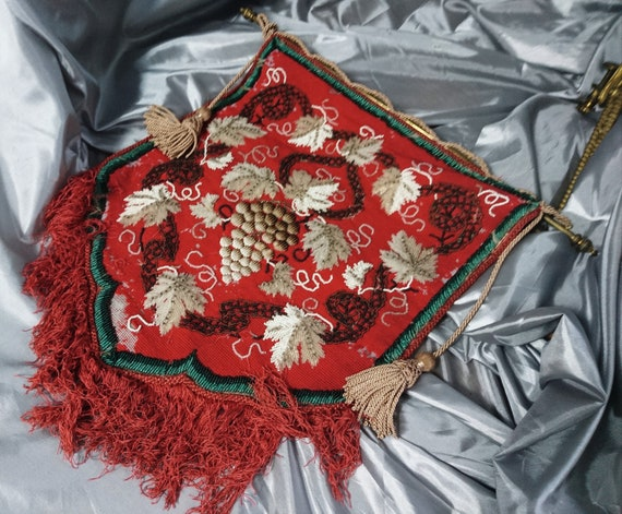 Victorian beadwork fire screen, fireplace panel, tassles and needlepoint tapestry, original clamp fittings, grapes and vines