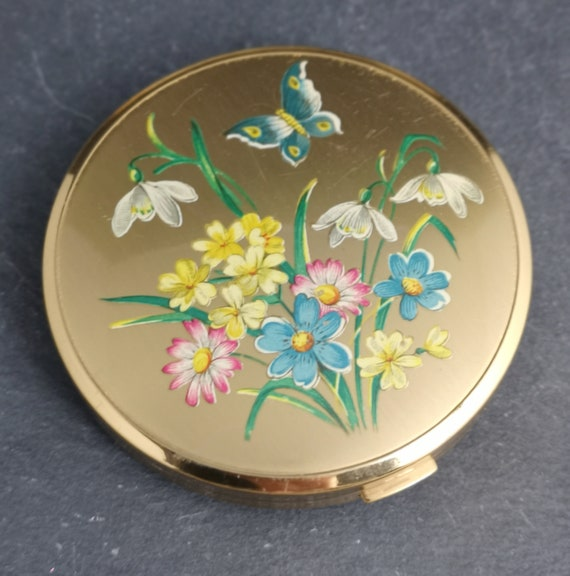 Vintage 50's powder compact, floral cosmetic compact, mirror