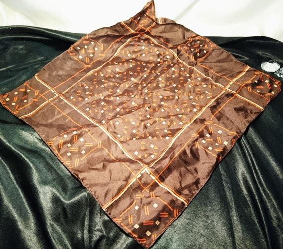 Large vintage silk handkerchief, patterned handkerchief, 1940's