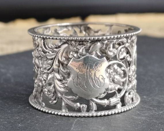 Antique silver napkin ring, Victorian pierced sterling silver, floral