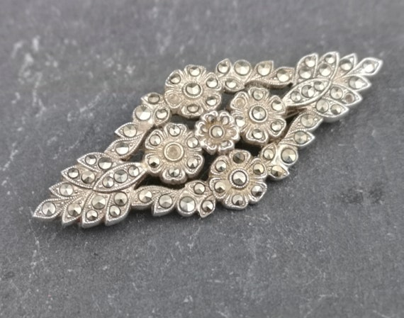Vintage silver and marcasite brooch, large 20s floral brooch