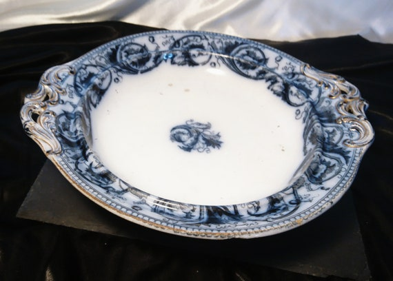 Antique Comport, flow blue, Wedgwood Pearlware, antique serveware